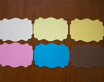 Die Cut Bracket Labels - MULTIPLE COLORS - DIY Die Cut Tags - Card Stock Label - Scrapbooking