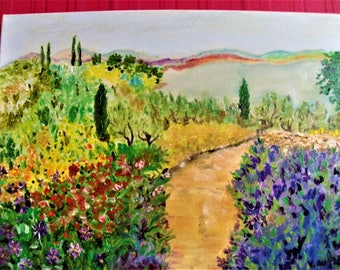 Impressionistic paint,landscape of French Riviera,Father's day,Art painting,nature,paint in the knife,Art and collections,Présents for Him