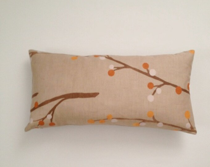 Decorative Bolster Pillow Cover - Beige and Orange -Medium Weight Multi Color Printed Cotton- Invisible Zipper Closure- Cushion Cover