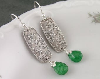 Tsavorite garnet earrings with handmade recycled fine silver-OOAK green gemstone earrings-OOAK