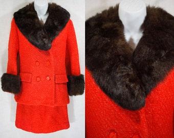 Vintage 60's 2 Piece Set of Orange Tweed Jacket with Fur Collar & Skirt S