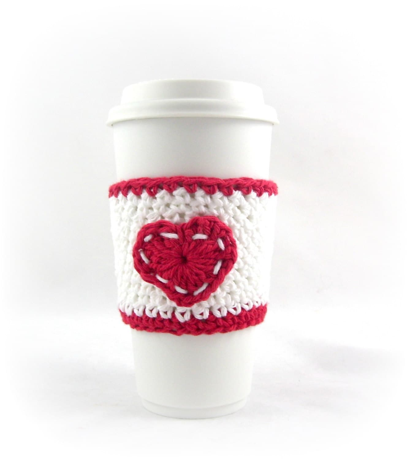 Valentines Day Easy crochet red and white coffee cup cozy sleeve ...
