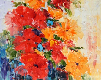 "Original abstract flower oil painting, Abstract Flowers 1, palette knife impasto oil painting, Floral Still Life ca.7x10"", red and orange"