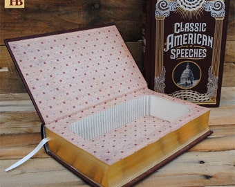 Book Safe - Classic American Speeches - Leather Bound Hollow Book Safe