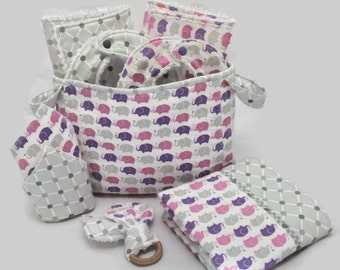 Baby Shower Gift Basket, 9 Piece Set, Baby Accessories, Baby Blanket,  Burp Cloths, Baby Bibs, Elephant Blanket, Diaper Caddy, Baby Gift
