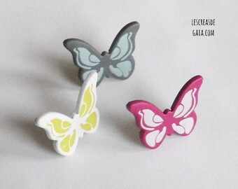 1 x set of 3 fasteners multicolor Paris Butterfly