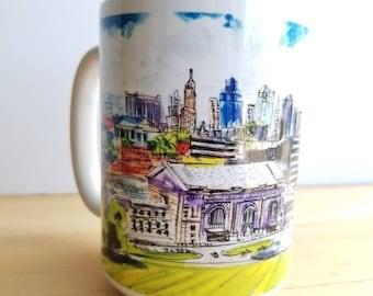 15 oz mug coffee/tea of Kansas City Skyline. From my original ink and watercolor sketch.