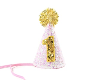 Birthday Party Hat ||  First Birthday Party Hat || 1st Birthday Party Hat || Pink Gold Party Hat || Glitter Party Hat || Party Hat