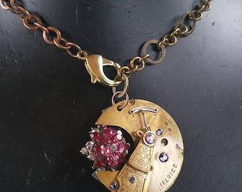 steampunk pocket watch plate stamped necklace