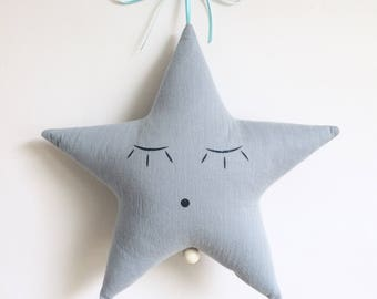 Mobile Musical Étoile Gaze Bleu Horizon - Bleu Denim à étoiles blanches - Boite à musique - Une étoile dans ma cabane
