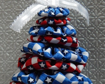 Red, White and Blue Patriotic Gingham Yo Yo Tree Ornament