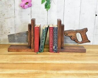Industrial Saw Bookends Metal, Industrial, Furniture, Fixings, Hook, Rack, Holder, Book Ends, Steampunk