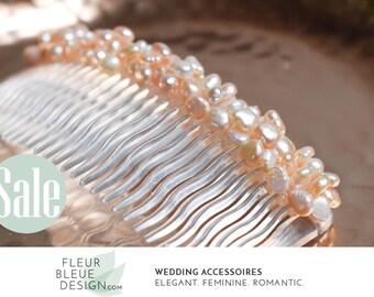 pearl hair comb | bridal hair comb | pearl headpiece | wedding hair comb | apricot wedding comb |  apricot comb