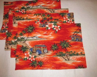 Handmade Quilted Set 4 Placemats tropical palm trees flowers woody cars Luau Hawaiian
