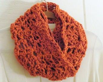 Crochet Chunky Lace Infinity Scarf Pumpkin Orange Circle Scarf 22 Colors