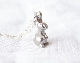 Easter Gift ~ Woodland Necklace ~ Little Silver Rabbit. Easter Bunny Necklace. Spring Fashion. Simple Modern Jewelry by PetitBlue