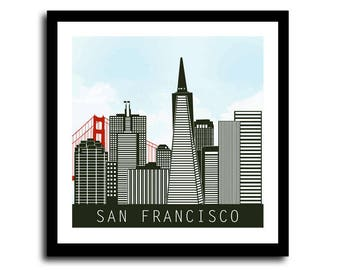 San Francisco Skyline Print, San Francisco Skyline Poster