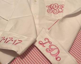 Bridesmaid oxford shirts, monogrammed oxford shirts, getting ready shirts, bridal party gifts , wedding day shirts ,