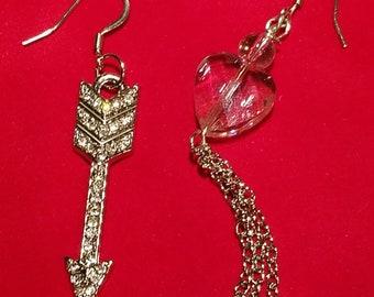 Pink Heart and Arrow Earrings.
