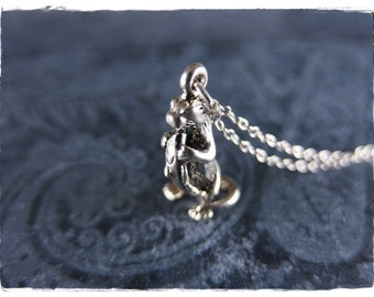 Silver Fish Eating Otter Necklace - Sterling Silver Otter Charm on a Delicate Sterling Silver Cable Chain or Charm Only