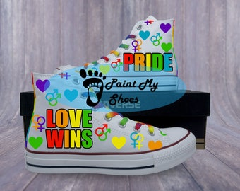 LGBT Pride, Gay Pride, Love Wins, converse, hand painted shoes, free shipping