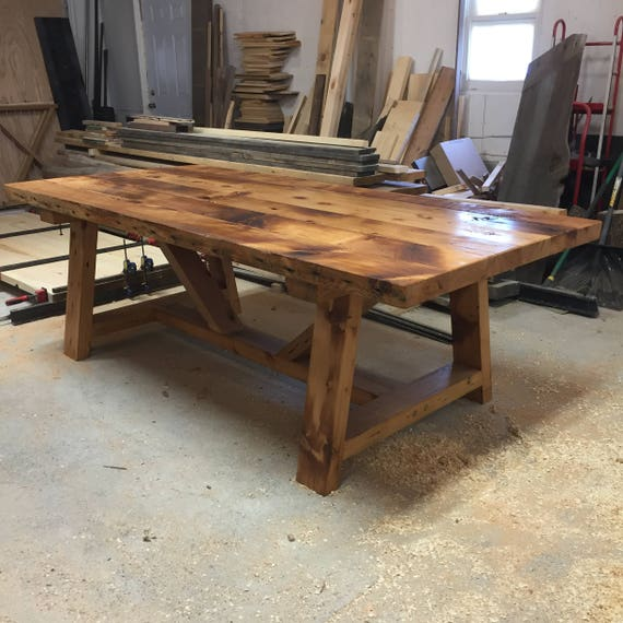 Authentic Reclaimed French Trestle Farmhouse Table FREE SHIP