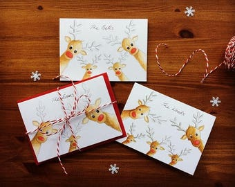 Personalised Christmas cards. Family of Reindeers. Your personal message hand written on front of card. Send a smile this Christmas!