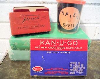 vintage  games, vintage party games, spelling games,Kanuggo, spill and spell, flinch card game, vintage adult games