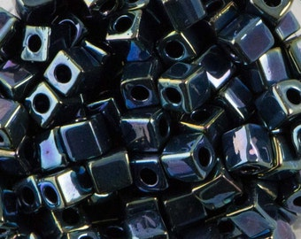 Gunmetal Iris Miyuki Cube Seed Bead 4mm 20gm Tube SB4-456-TB