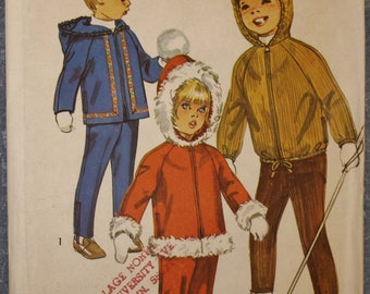 Vintage 1960s Child's Hooded Jacket and Overpants Size 5 Sewing Pattern Simplicity 8473