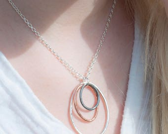Copper Necklace | Circle Pendant | Silver and Copper Necklace | Circular Rustic Necklace | Silver Necklace | Large Organic Pendant | Moore