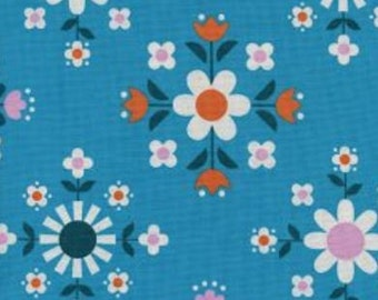Cotton + Steel- Florametry in bright blue- Welsummer- Kim Kight