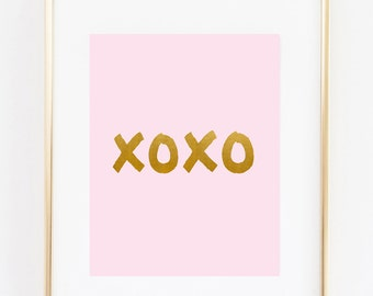 xoxo - Art print - Pink - Gold - 8x10 inches - Girl Nursery - Office - Bedroom