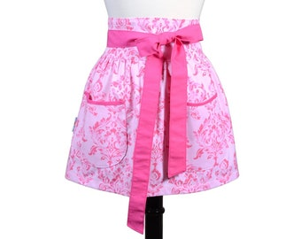 Womens Flirty Retro Half Apron in Obi Design of a Light Pink Damask  with Two Large Lined Pockets