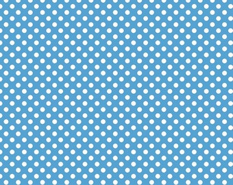 "Medium Blue Small Dots 1/4"" by Riley Blake Designs - White on blue polka dots- Quilting Cotton Fabric - choose your cut"