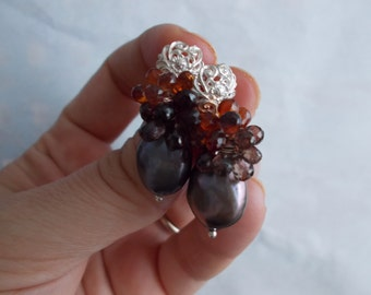 Liquid Amber - Earrings with  freshwater black pearl, tundra sapphire faceted teardrop briolettes and silver 925