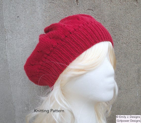Slouch Hat Knitting Pattern Sport Weight Yarn Eyelet Pattern Tam