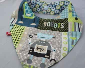 Blue and green robots pattern bandana bib
