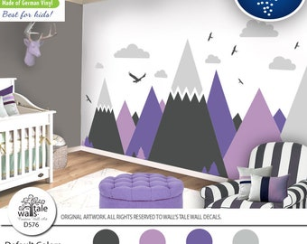Lavander Lilac Mountain Wall Decal for Nursery,Kid room.High quality removable sticker -eagles, pine trees, clouds. Adventure decal d576