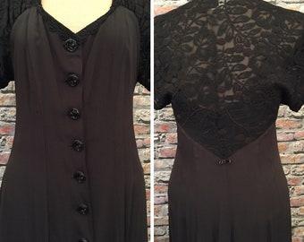 Vintage 1980's Karen Alexander Black Rayon And Lace Maxi Dress   Size 8-10