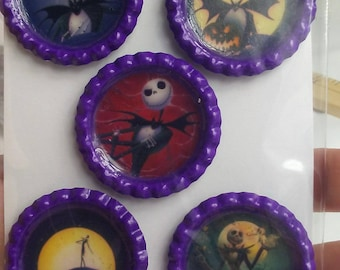 Nightmare before Christmas bottle cap magnets