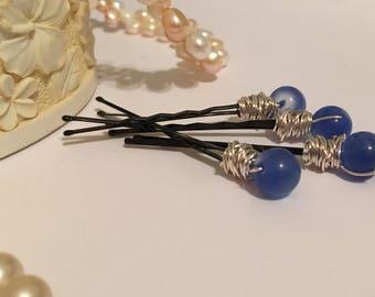 Blue beaded black hair pins