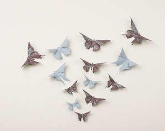 3D Wall Butterflies: Butterfly Wall Art for Nursery, Girl's Room, or Home Decor in Heather & French Linen