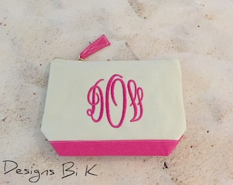 Pencil pouch, Monogrammed pencil case pouch, Personalized bag, Pencil pouch with monogram, Monogram canvas pouch, Sorority gifts