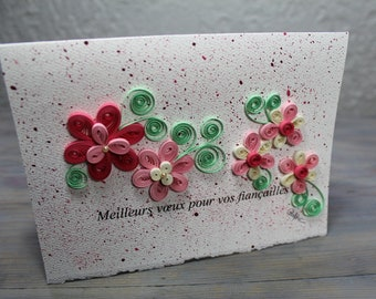 Engagement card, quilled card, quilled flower, pink flowers, blank card, french greetings