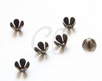 12pcs Antique Brass Plated Brass Base Flower Bead Cap -  7.5mm (2029C-P-393)