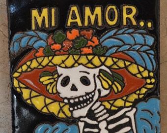 Talavera Mexican Tile Mosaic Day of the Dead / Tiles Clay Catrina