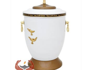 Beautiful White Metal Cremation Urn for Ashes - Gold Cross Funeral Urn For Adult Ashes Memorial Urn  (M58)