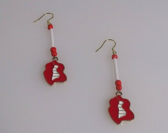 Red Lips With White Teeth Enamel Charm Earrings, Gold Plated 925 Sterling Silver Earwire, Red Glass Beads With Red Enamel Lip Charm Earrings