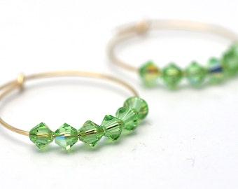 Gold Peridot Hoop Earrings | Gold Green Crystal Earrings | Sparkly Earrings
